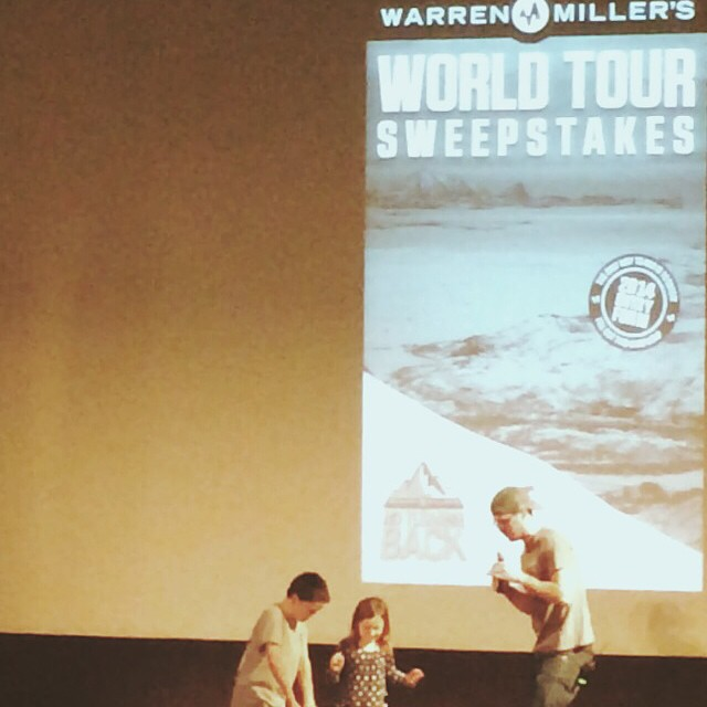 Our kids at Warren Miller ski movie for the first time. And they got to pick the winners at Intermission and they picked my friend Marlow Rahn! Good job kids! #skikids #warrenmiller #winter #noturningback